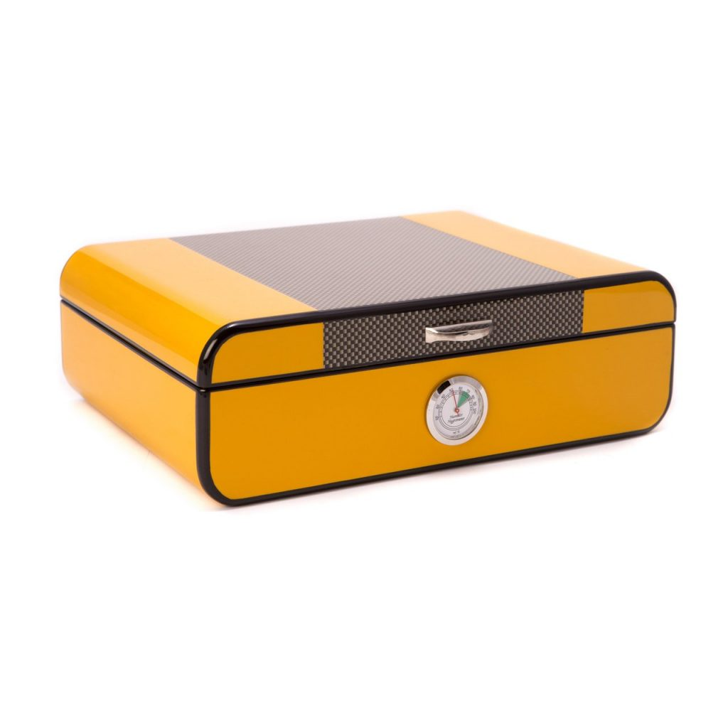 Carbon Fiber & Yellow Lacquered Wood 25 Cigar Humidor