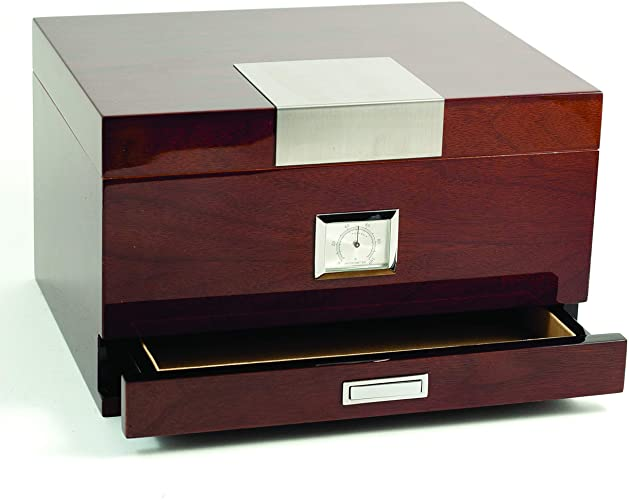 """Lacquered """"Walnut"""" Wood 60 Cigar Humidor with Spanish Cedar Lining and Accessory Drawer"""