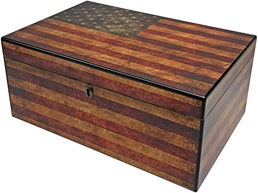 Old Glory USA Flag Printed Desktop Humidor by Quality Importers - 100 Cigar ct