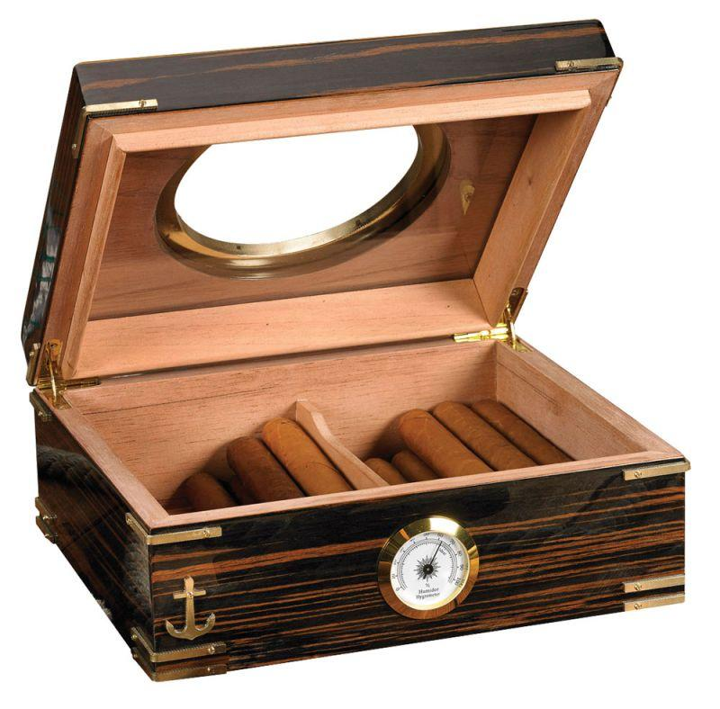 "Humidor Supreme ""Gangway"" 50 Cigar Ebony finish with Brass Porthole"