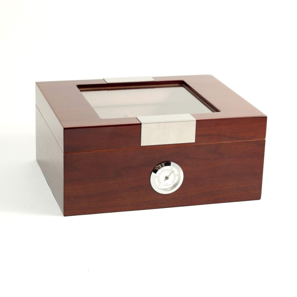 "Lacquered ""Walnut"" Wood Humidor with Spanish Cedar Lining and Glass See-thru Lid - 60 Cigar ct"